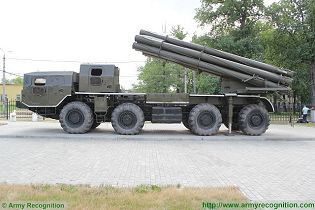 BM-30 9K58 Smerch 300mm multiple rocket launcher system truck 8x8 MAZ-543M Rusia Russian army left side view 002