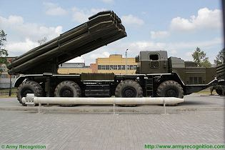 BM-30 9K58 Smerch 300mm multiple rocket launcher system truck 8x8 MAZ-543M Rusia Russian army right side view 002