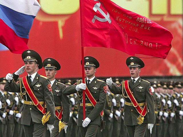 "Russian ""Victory Day"" parade in Moscow on May 9, 2011. Notice the Soviet flag with the hammer and sickle?"