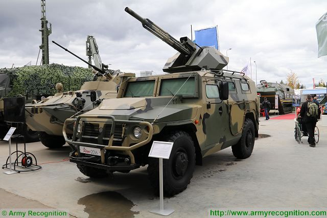 At Army 2016, the International Military Technical Forum which takes place in Patriotic Park near Moscow, the Russian Defense Company VPK (Voyenno-Promishlennaya Kompaniya) unveils new unmanned version of its famous Tigr 4x4 armoured vehicle fitted with a new remotely weapon station armed with a 30mm gun.