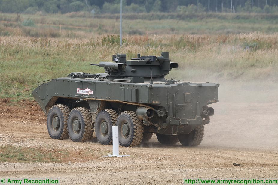 First live firing demonstration for the K-17 Bumerang 8x8 IFV (Infantry fighting Vehicle) at Army-2017, the International Military Technical Forum which takes place in the Patriotic Park exhibition center near Moscow, Russia.