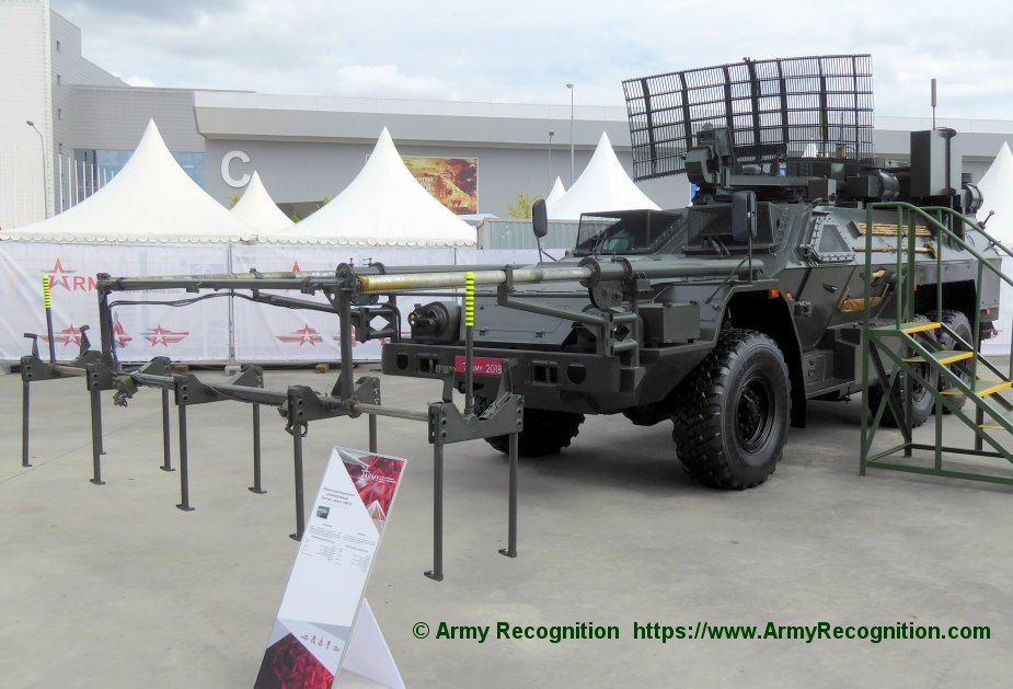 Russian Strategic Missile Force unveiled Listva demining vehicle at Army 2018