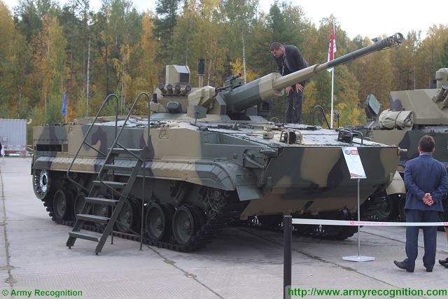 "At RAE 2015 (Russia Arms Expo 2015), the Russian Defense Company Machinery & Industrial Groups N.V. Concern ""Tractor plants"" unveils a new variant of the famous BMP-3 infantry fighting vehicle equipped with a new turret armed with a 57mm automatic cannon AU-220M."