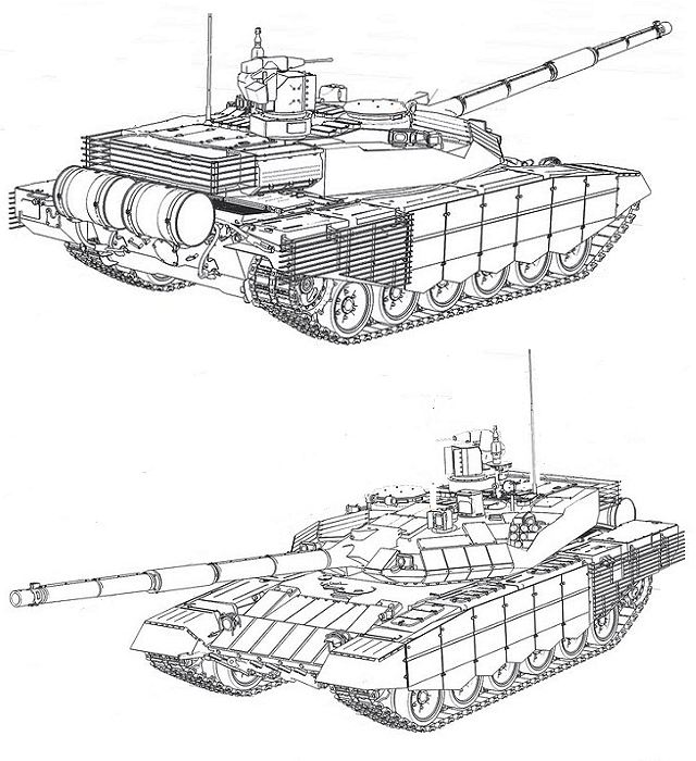 T 90MS main battle tank Russia Russian army defence industry military technology line drawing blueprint 001