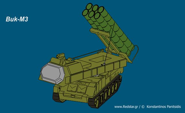 Buk M3 SA 17 medium range air defense missile system Russia Russian defense industry line drawing blueprint 001
