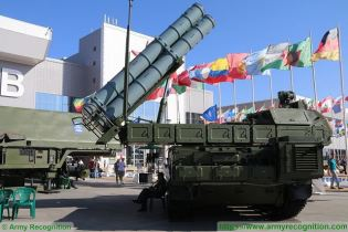Buk M3 Viking SAM medium range surface to air defense missile system Russia Russian army rear view 001