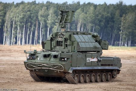 TOR M2 SA 15D short range surface to air defense misssile system Russia Russian army front view 001