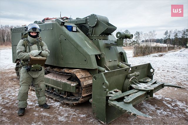 the Uran-14, is an obstacle-breeching and fire-fighting robot.