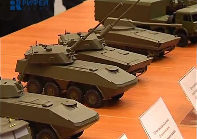 Scale model of Russian project of Boomerang 8x8 armoured vehicle personnel carrier.