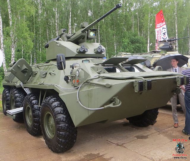 Tuesday, May 29, 2014, during a demonstration at the training range of the automotive technology institute of the Russian Ministry of Defense, the Defense Company Military-Industrial Company LLC (BMK) has unveiled a new variant of the BTR-82A equipped with a new turret, called BTR-82A1.