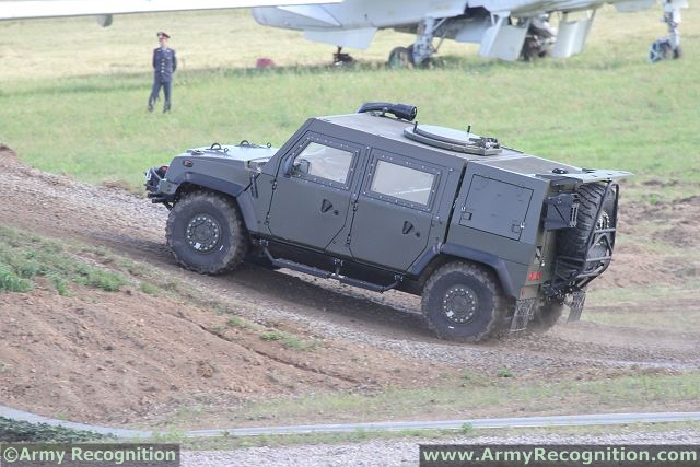 Lynx LMV 4x4 multirole armoured vehicle in live demonstration at Engineering Technologies defence exhibition in Moscow, Russia.