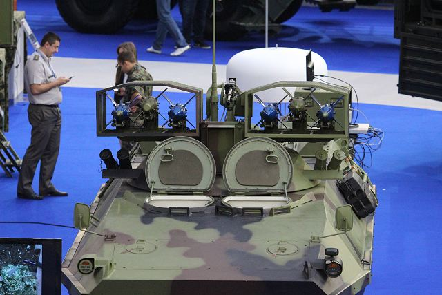 The BOV M83 anti-tank guided missile carrier is showed at Partner 2015 with two new types of upgraded anti-tank guided missiles (ATGW) Malyutka 2. Mounted on the roof of this vehicle is a pod containing six ATGWs.
