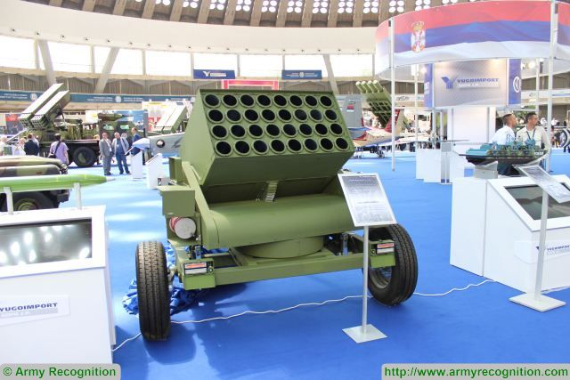 Another new product presented by the Serbian State Company Yugoimport at Partner 2017, the International fair of armaments and defense equipment, is 107mm towed rocket launchers system mounted on a trailer with one single axle.