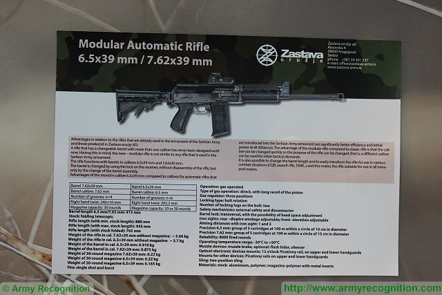 The Serbian Company Zastava arms introduces its new modular automatic assault rifle at Partner 2017, this new weapon is available in 6.5x39mm and 7.62x39mm caliber. According to Zastava arms engineers, this is the first assault rifle in the world which is designed with the capacity of changeable barrel.