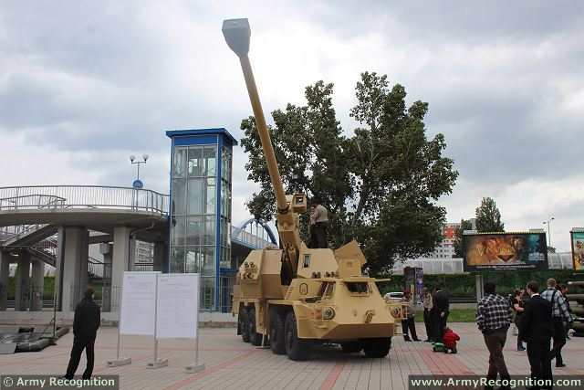 At IDEB 2014, the Slovak Defense Company Konstrukta Defence presents the latest modernized version of the Dana 152mm wheeled self-propelled howitzer, called the Zuzana 2. This howitzer is based to the Zuzana 1 armed with a 155mm 45-caliber gun and automatic loader which enters in service with the Slovak Army in 1998.