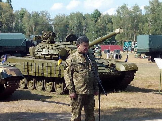 On July 26, 2014, Petro Poroshenko, President of Ukraine visited the first operational brigade of National Guard in the training center located in Novi Petrivtsi. Petro Poroshenko got acquainted with weaponry and military equipment samples, which are to be sent to ATO area. He examined ammunition, sniper complexes, artillery armament, air-to-air defence means, grenade launchers, and module complex for placement of fighters.