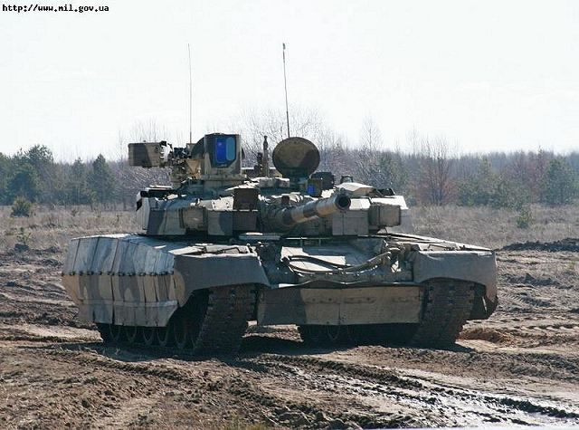 Ukrainian T-84 Oplot main battle tank during the demonstration at the firing range of the 1st Armoured Brigade of the Ukrainian army, stationed in Chernihiv.