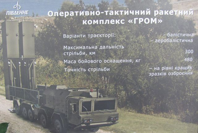 During the Defense Exhibition in Kiev, Arms and Security 2014 which was held from the 24 to 27 September 2014, a new local-made military project was unveiled concerning the development of a new surface-to-surface ballistic missile, called GROM-2.