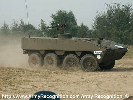 AMV patria 8x8 wheeled armoured vehicle personnel carrier Finnish Finland right side view 450 001