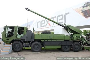 Caesar 155mm 8x8 wheeled self propelled howitzer Nexter artillery France French left side view 002