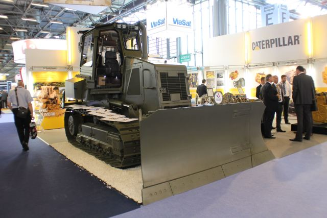 At Eurosatory 2014, on stand D698 in Hall 5, Caterpillar introduces its armoured Cat® D6K military bulldozer. With its rapid deployment by air transportation, the military D6K provides a remarkable tool to assist military engineers in the construction of airfields, roads, landing zones, defensive berms, anti-tank ditches, and other key military construction missions.