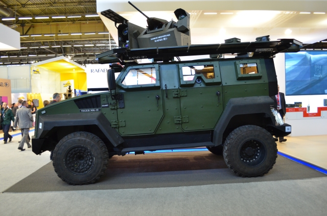 At Eurosatory 2014, Rafael Advanced Defense Systems exhibits Trophy - a situational awareness and active protection hard kill system that operates in three major stages: Threat detection and threat tracking followed by hard kill countermeasure (Multiple Explosive Formed Penetrators – MEFP) activation and threat neutralization