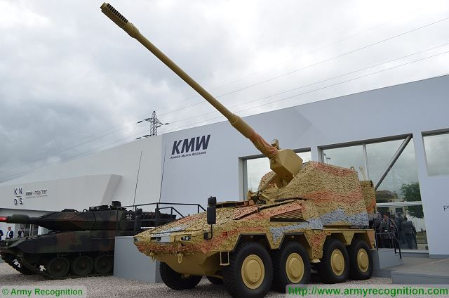 The German Company Krauss-Maffei Wegmann on the booth of KNDS (Kraus-maffei wegmann Nexter Defense Systems) showcases its new Remote Controlled Howitzer 155 (Boxer RCH 155) during the defense exhibition Eurosatory 2016 in Paris, France.