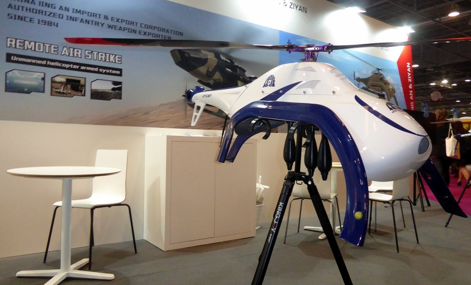 Eurosatory 2018 Ziyan electric helicopter drone for attack and surveillance
