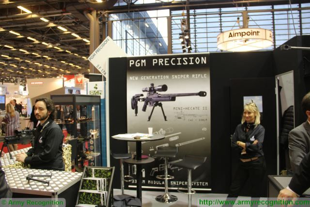 Mini Hecate 2 long-range sniper rifle PGM Precision Milipol 2015 Security exhibition Paris France 640 001