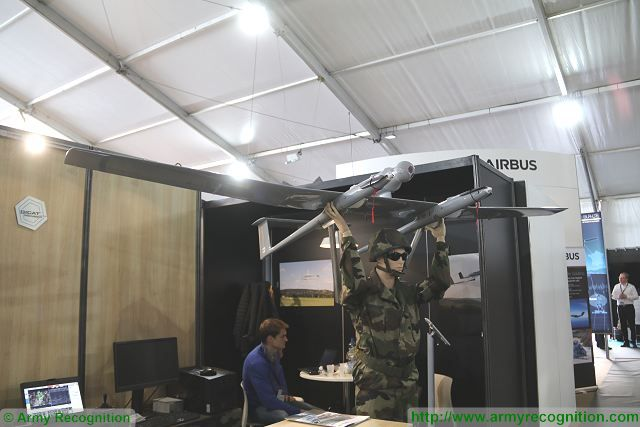 French made hand launched electrically propelled UAV Survey Copter Tracker 120 at SOFINS 640 001