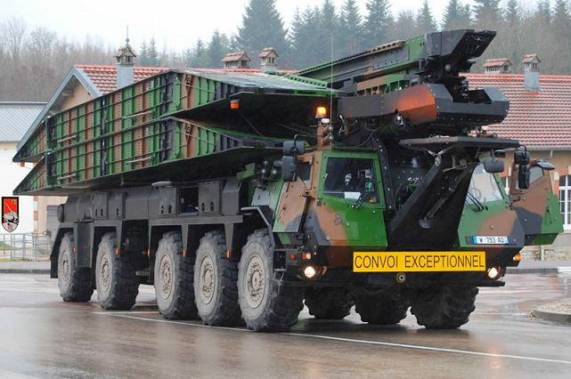 "The French army receives in March its first two new launcher bridges, called SPRAT ""Système de Pose RApide de Travures"" (Quick deployment of bridge elements). The program dates from the end 90s, and the DGA (French Army procurement agency) was then entrusted the implementation of the program to the French company CNIM."