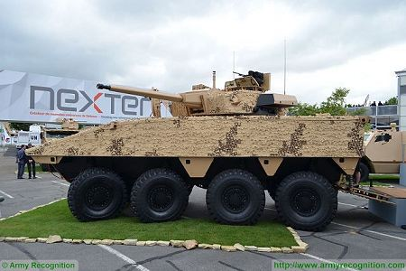 VBCI 2 8x8 wheeled armoured infantry fighting vehicle CTA40 Nexter Systems France French defense industry left side view 001