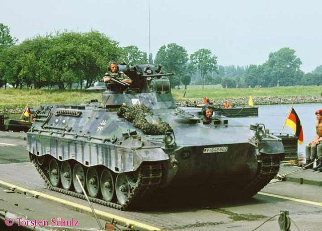 A total of 52 combat vehicles, consisting of 26 Leopard 2A6 main battle tanks and 26 medium-sized Marder 1A2 infantry fighting vehicles, will be shipped from the city of Unterluss following a brief ceremony early this week, which will be attended by Sjafrie Sjamsoeddin, Indonesia's deputy defense minister, and Gen. Pramono Edhie Wibowo, retired Army chief of staff.