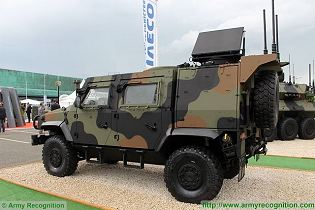 LMV 2 Light Multirole 4x4 tactical armoured vehicle technical data sheet specifications pictures video description information photos images identification intelligence Italy Italian IVECO Defence Vehicles Defence Industry military technology