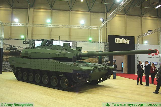 The final prototype (PV2) of the Altay Main Battle Tank project carried out by prime contractor Otokar is presented to the public for the first time at IDEF 2015. This prototype is identical to the serial-production ready design of Turkey's main battle tank.