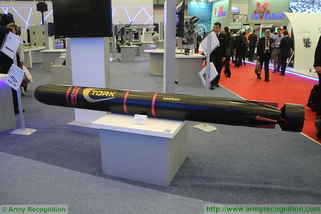 The TORK anti-torpedo torpedo is also another new product showed at IDEF 2015 by Aselsan which is able of destroying acoustic-guided, wire-guided, unguided and slipstream-guided torpedoes that are aimed at surface vessels or submarines.