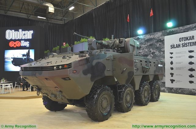 Arma 8x8 with MIZRAK S turret at IDEF 2017, International Defense Exhibition in Istanbul, Turkey.