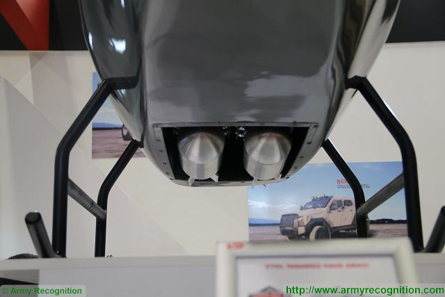 At IDEF 2017, the International Defense Exhibition in Turkey, the Turkish Company Best Grup presents a new concept of VTOL (Vertical Take-Off and Landing) Unmanned Aerial Vehicle (UAV) with a bomb bay able to carry 4 x 9.5 kg custom build fragmentation free-fall bombs.