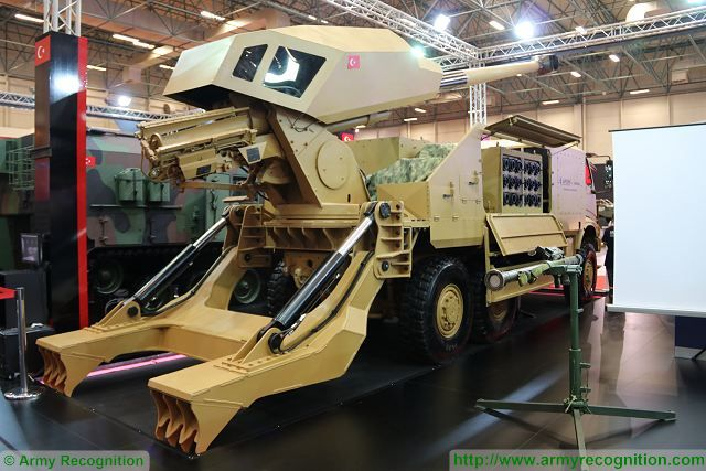 "The Turkish army General Directorate of Military Factories (AFGM) presents a new prototype of 6x6 wheeled self-propelled howitzer at IDEF 2016, Defense Exhibition in Istanbul Turkey. In collaboration with the Turkish Company Aselsan, AFGM has integrated the weapon system of the Turkish-made ""Panter"" Firtina 155mm 52 cal gun tracked self-propelled howitzer on a 6x6 truck chassis."