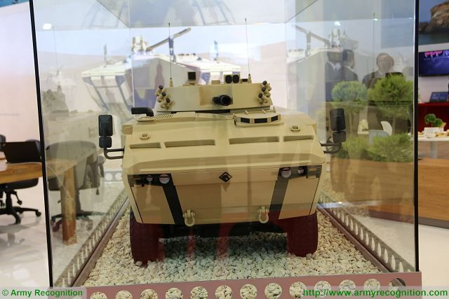 Scale model of Rabdan 8x8 armoured vehicle with BMP-3 turret at IDEF 2017, International Defense Exhibition in Istanbul, Turkey.
