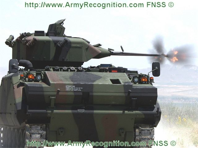 "FNSS's another capability is the development and production of turrets and weapon stations. The company currently offers a One-Person (Sharpshooter) turret, which is fitted with a 25-mm Bushmaster cannon and a co-axially mounted 7.62 mm MG. The weapons are fully stabilized providing full ""shoot on the move"" capability and incorporate modern high performance sighting systems."