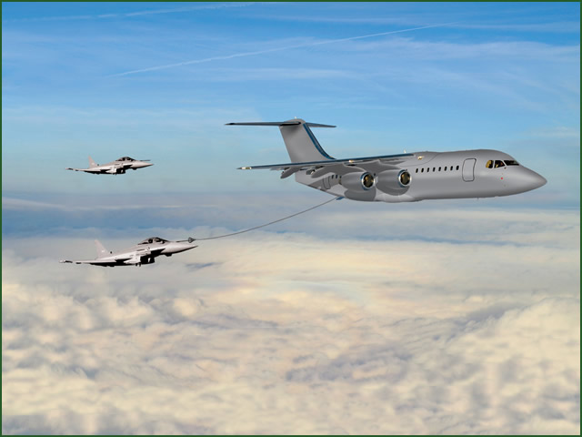 United Kingdom, London. At DSEI 2013, BAE Systems, building on the success of the BAe 146/Avro RJ regional jetliner in a variety of military and special role applications, BAE Systems Regional Aircraft today unveiled its proposal for a cost-effective air-to-air refuelling (A2R) variant of the aircraft.