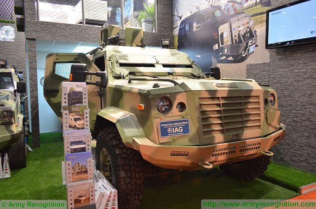 At DSEI 2015, the International Defense Exhibition in London (UK), International Armored Group (IAG) presents its combat proven 4x4 armoured personnel carrier Jaws and Guardian. International Armored Group is a premium vehicle armoring company experienced in the fields of engineering, prototyping and manufacturing of armored cars, armored trucks and other armored commercial vehicles.