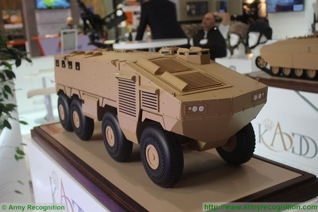 At DSEI 2015, the International Defense Exhibition in London (UK), King Abdullah II Design and Development Bureau (KADDB) from Jordan unveils a new project of 8x8 armoured vehicle personnel carrier (APC). A scale model of the vehicle was showed for the first time at KADDB booth during DSEI 2015.