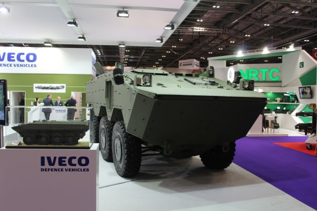 Fitted with an Iveco 9-litre, 281 kW (383 hp) bi-fuel common-rail engine, coupled to an automatic gearbox, the VBTP is a 18 tonne, 6x6 armoured amphibious vehicle which can carry 11 personnel.