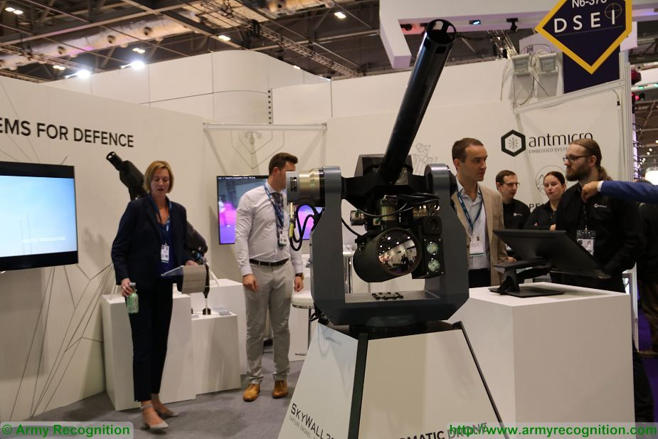 Open Works Engineering unveils SkyWall 300 turret mounted drone capture system at DSEI 2017 DSEI 2017 defense exhibition London UK 925 001