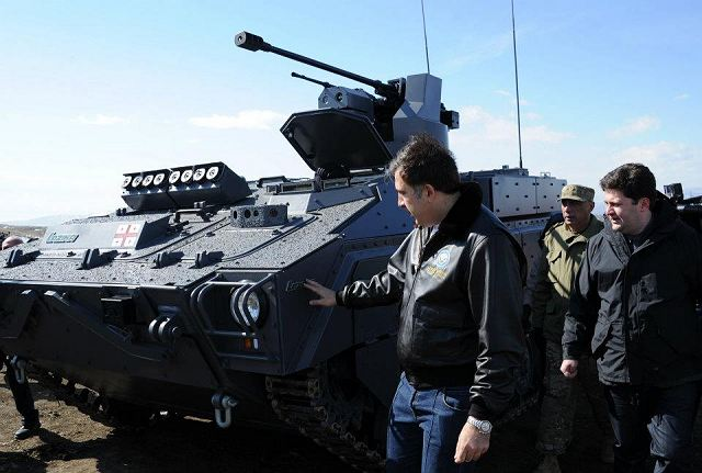 "Georgia unveils February 25, 2012, a local made Tracked Inrfantry Combat vehicle ""Lazika"" at the Vasiani military firing-range. The Georgian President and Defence Minister drove a few kilometers in a new armored vehicle along with military servicemen."