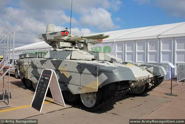 At KADEX 2014 , the International Exhibition of weapons systems and Military equipment in Astana (Kazakhstan), Russian Defense Company Uralvagonzavod unveils its new fire support armoured fighting vehicle BMPT-72 nicknamed Terminator 2. As the first production of BMP-T, the BMPT-72 is based on the chassis of the Russian-made main battle tank T-72.