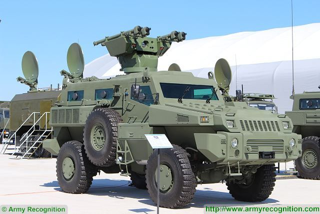 The Arlan air defense variant is fitted with a turret mounted on the roof of the vehicle which is armed with four Igla launcher tubes. The SA-18 Grouse or Igla or 9K38 is a Russian made man-portable infrared homing surface-to-air missile defence system (SAM/MANPAD). The SA-18 missile has a maximum range of 5,000 m and a maximum altitude of 3,500 m.