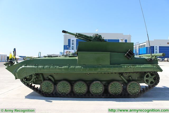 Defense Industry of Kazakhstan presents a new mobile mortar system based on Russian-made BMP-1 tracked armoured infantry vehicle called BMP-2B9. The original turret of BMP-1 is removed and replaced by a 2B9 Vasilek (Cornflower) 82mm mortar.